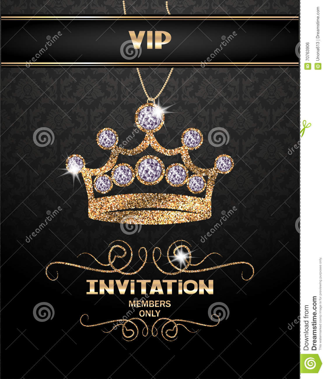 Vip invitation card with abstract sparkling crown with diamonds vip invitation card with abstract sparkling crown with diamonds stopboris Image collections