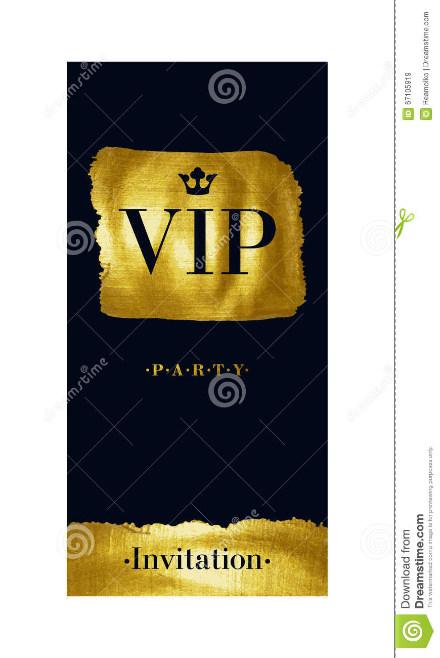Vip invitation card with golden paint brush stroke stock vector vip invitation card with golden paint brush stroke stopboris Image collections