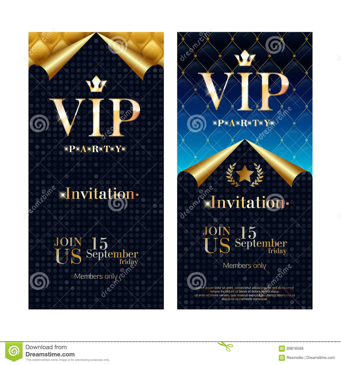 VIP Invitation Card Premium Design Templates Set. Stock Vector ...