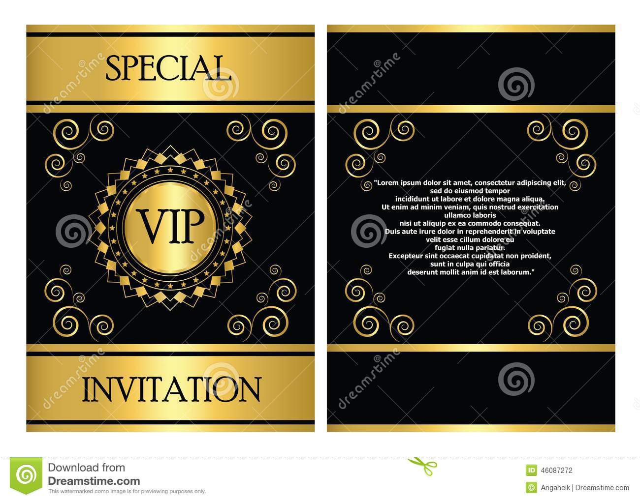 vip invitation card template stock vector image 46087272. Black Bedroom Furniture Sets. Home Design Ideas