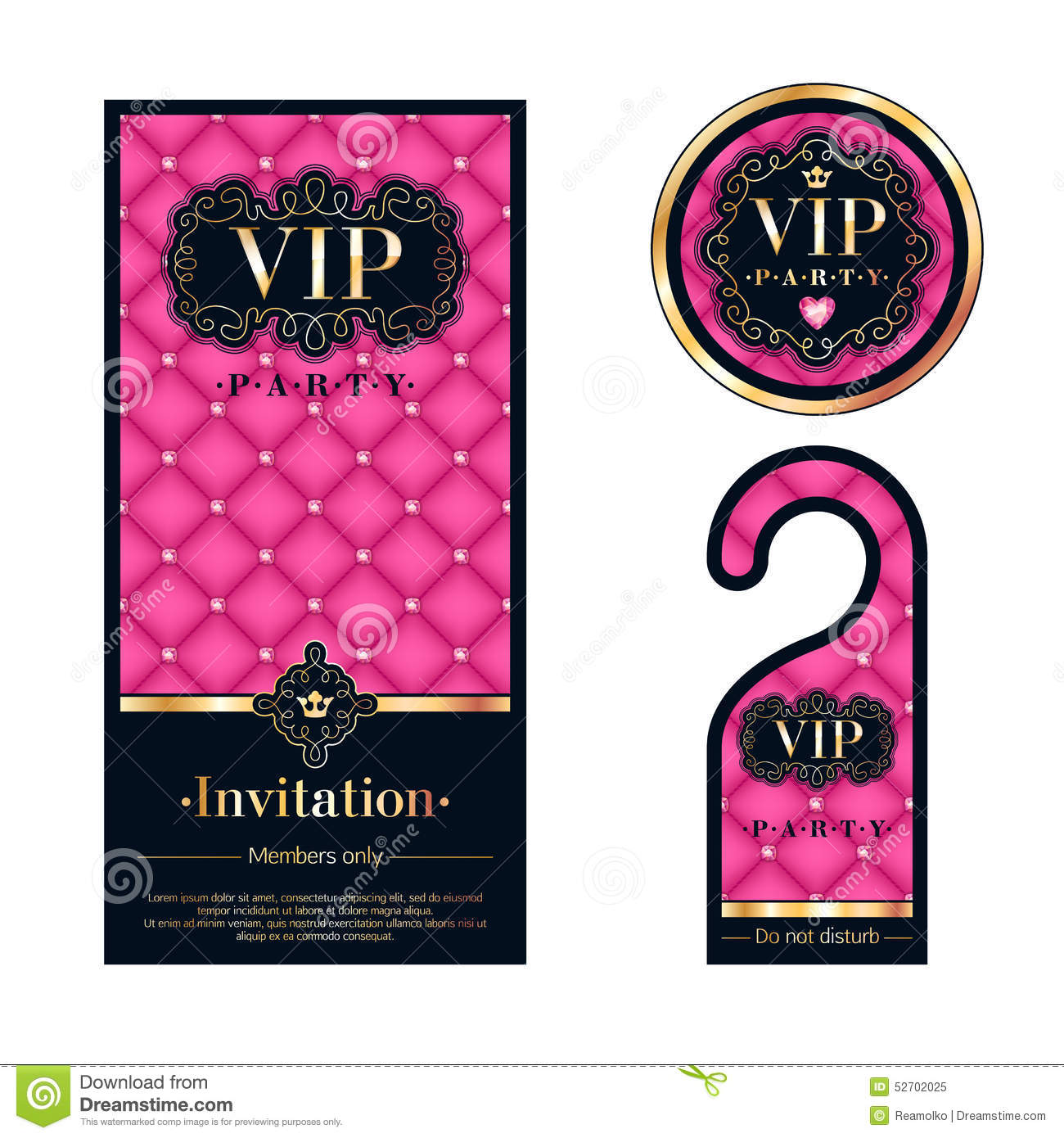 VIP Invitation Card, Warning Hanger And Badge Stock Vector - Image: 52702025