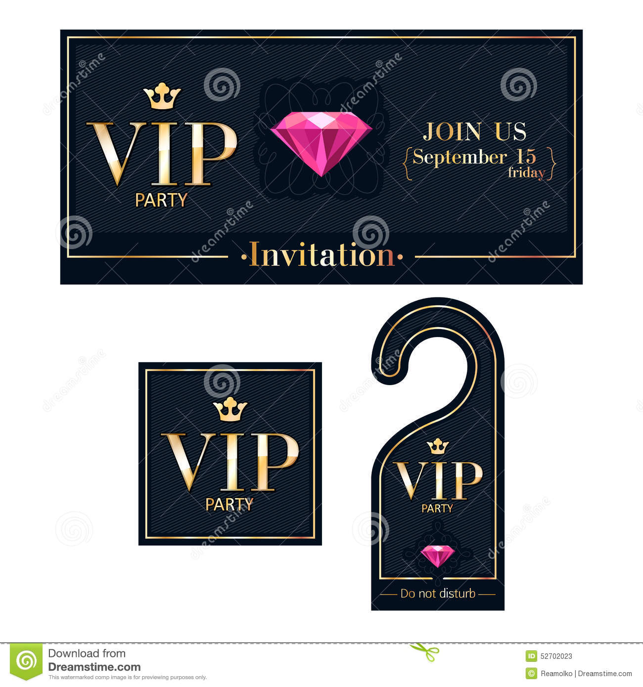 Vip party invitation card warning hanger and stock vector vip invitation card warning hanger and badge stock photos spiritdancerdesigns Image collections