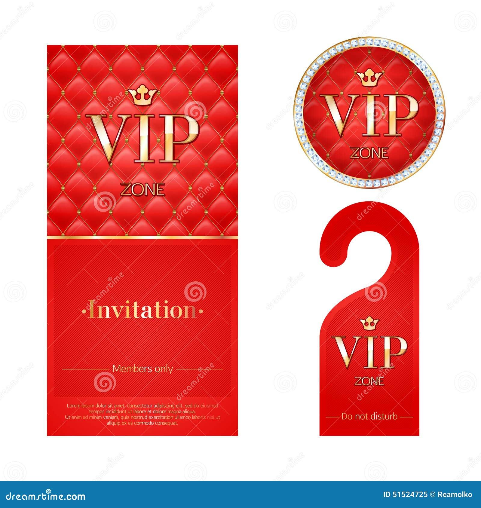 VIP Invitation Card, Warning Hanger And Badge Stock Vector ...