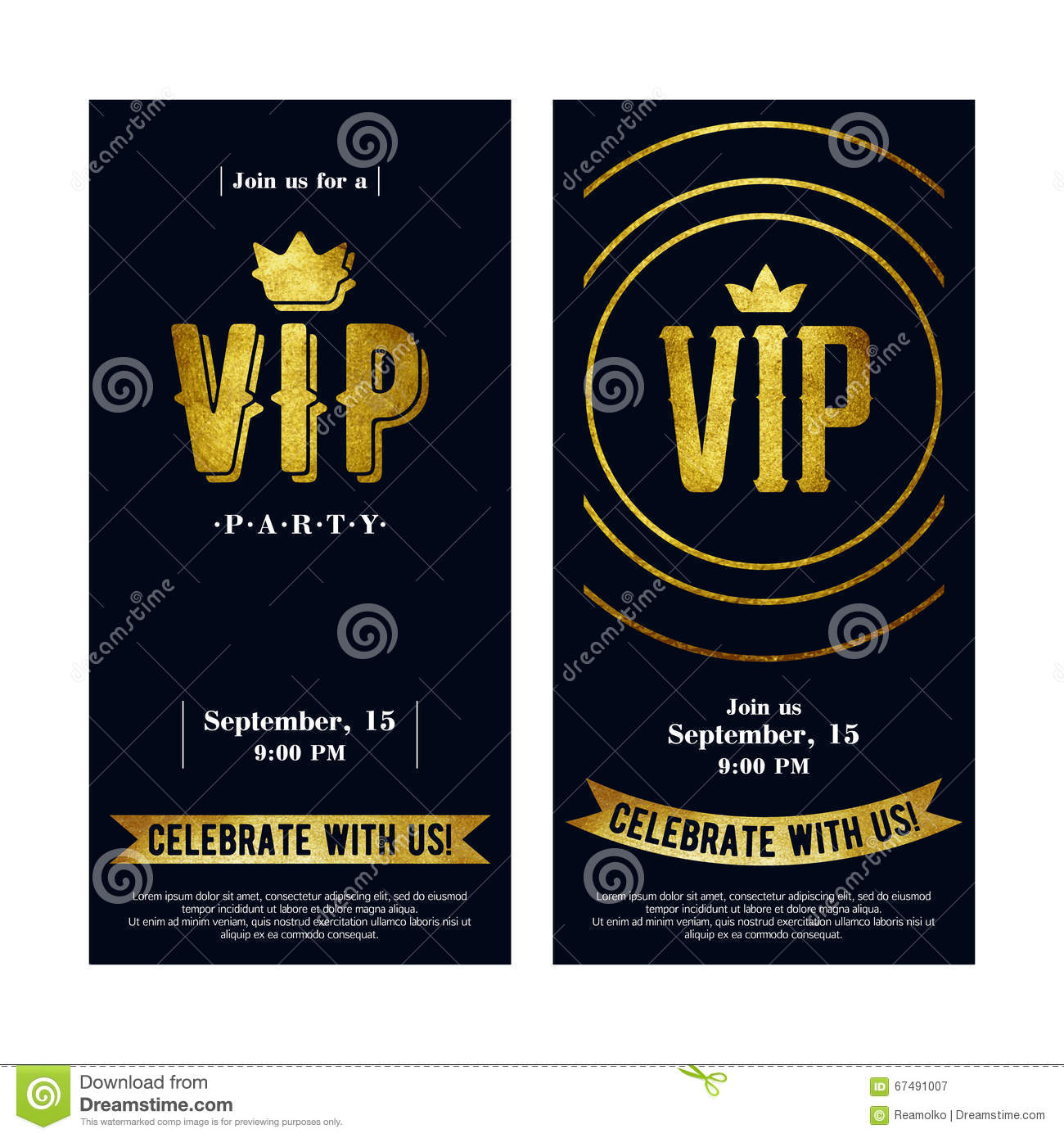 VIP Invitation Cards With Golden Paint Letters. Stock Vector - Image ...