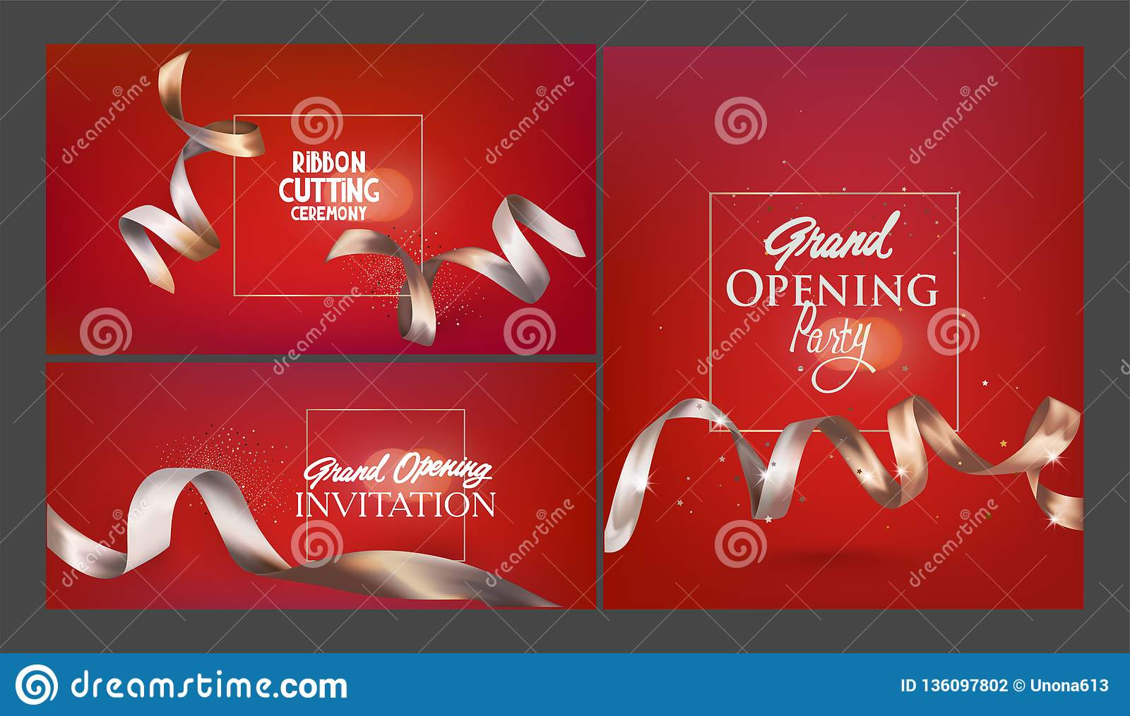 Set Of Red Invitation Cards For Grand Opening Event Stock