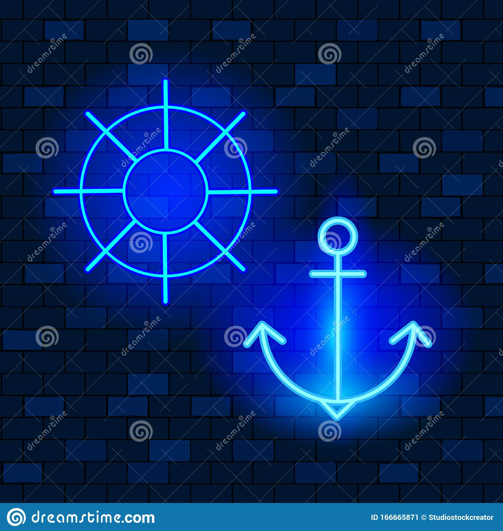 vip neon icons concept. neon anchor and helm icons on the