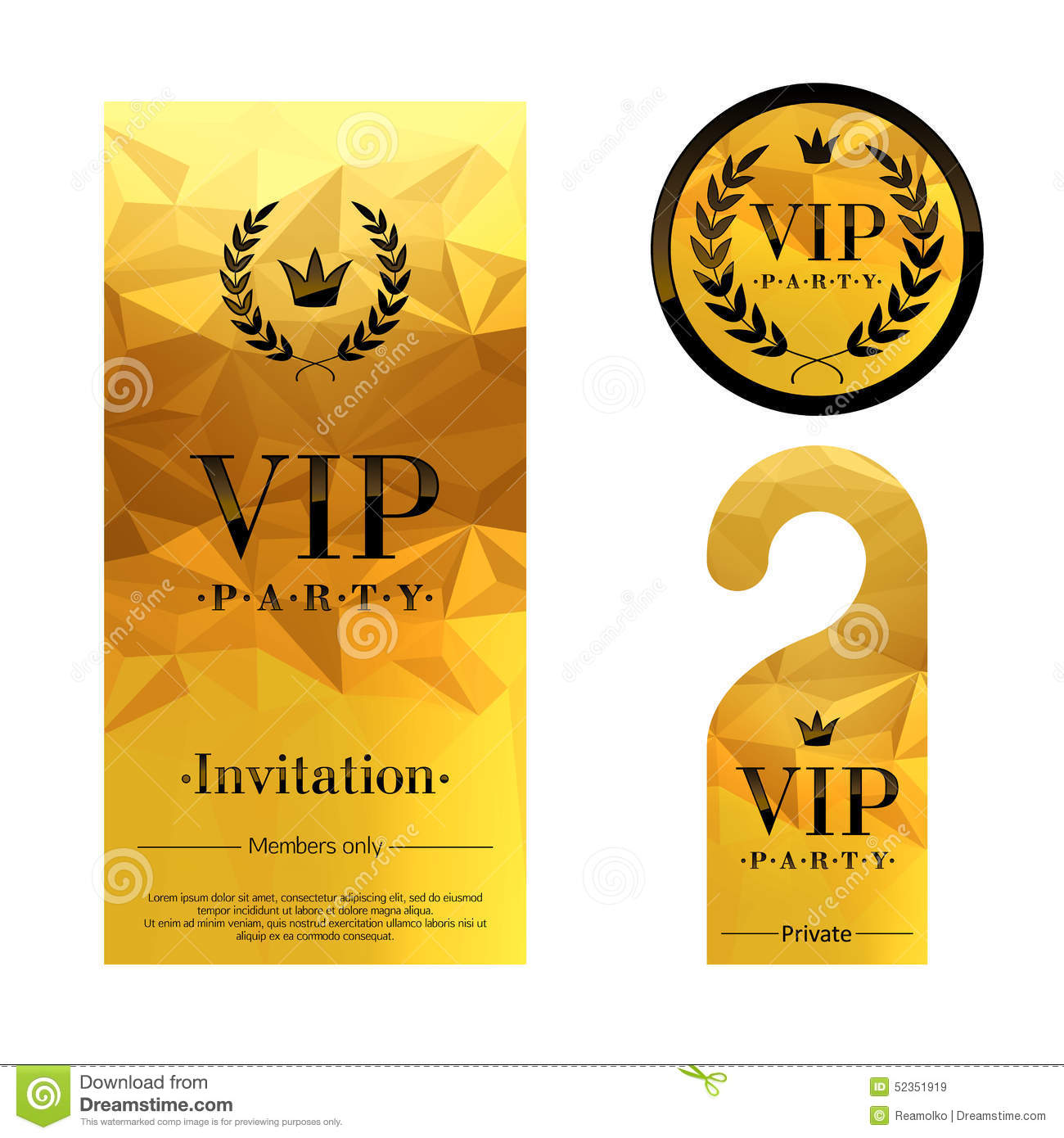 VIP Party Invitation Card Warning Hanger And Stock Vector