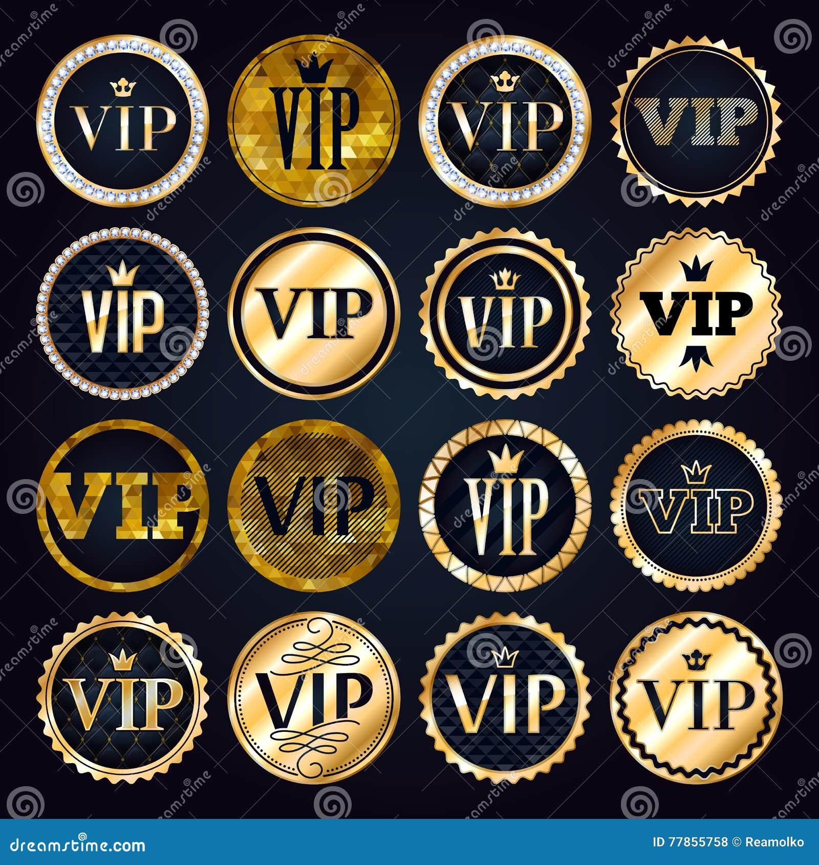 vip premium golden badges set stock vector illustration of emblem