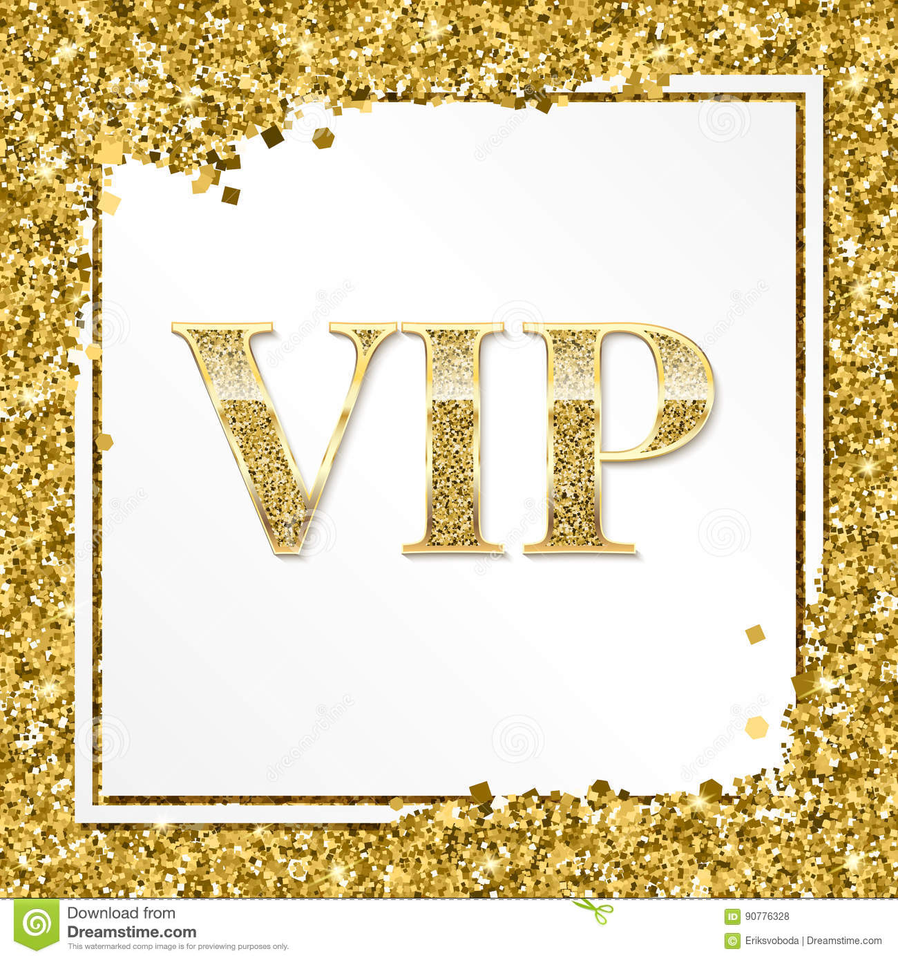 VIP premium invitation card, poster or flyer for party. Golden design template with glittering shine text. Decorative