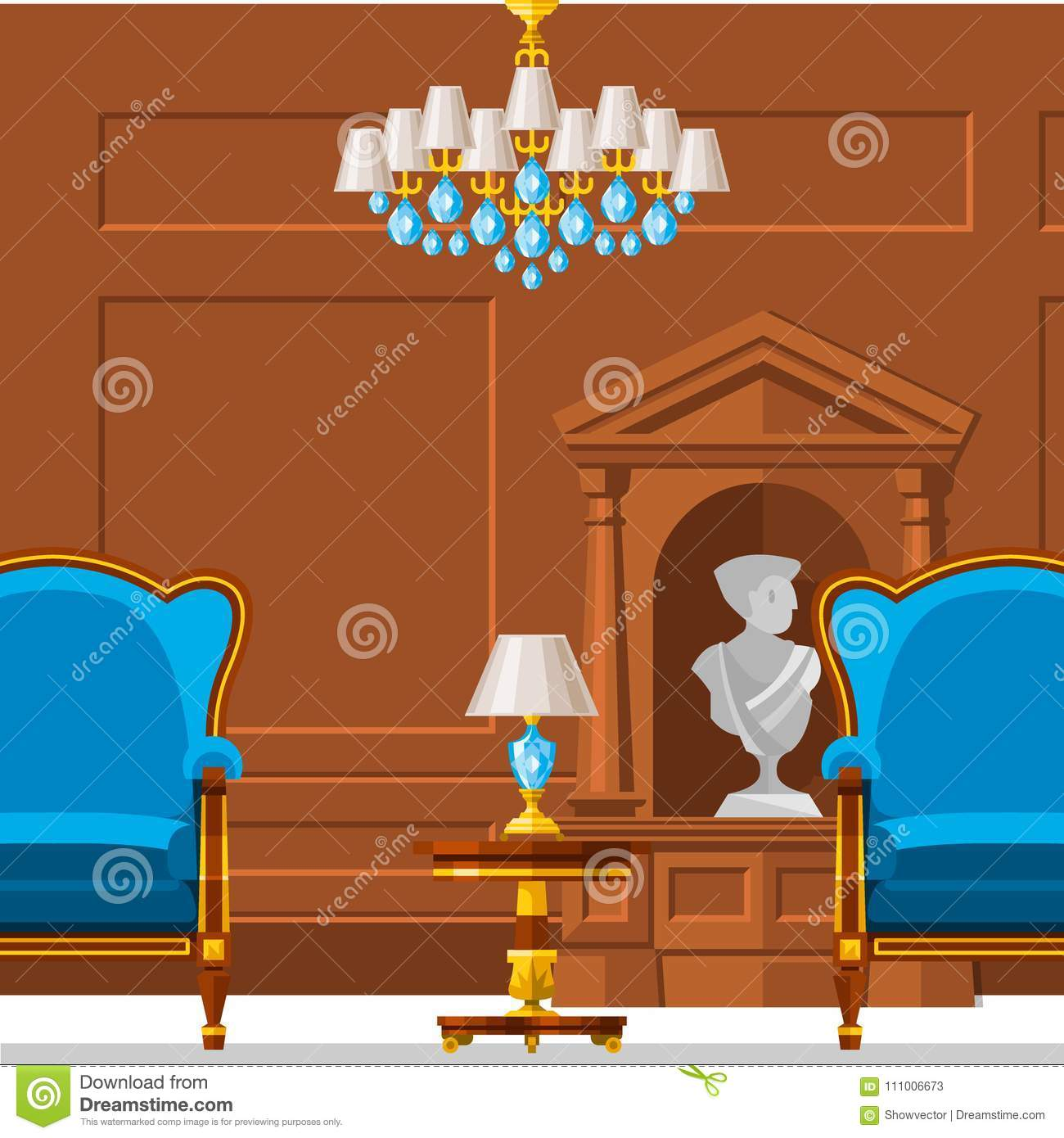 Set Interior Design House Rooms Furniture Stock Vector: VIP Vintage Interior Furniture Rich Wealthy House Room