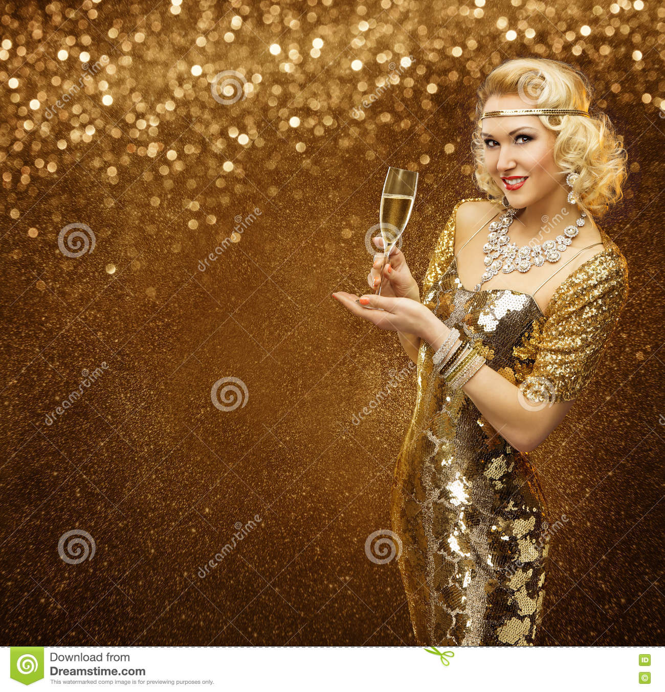 Vip Woman with Champagne Glass Celebrating Holiday Party