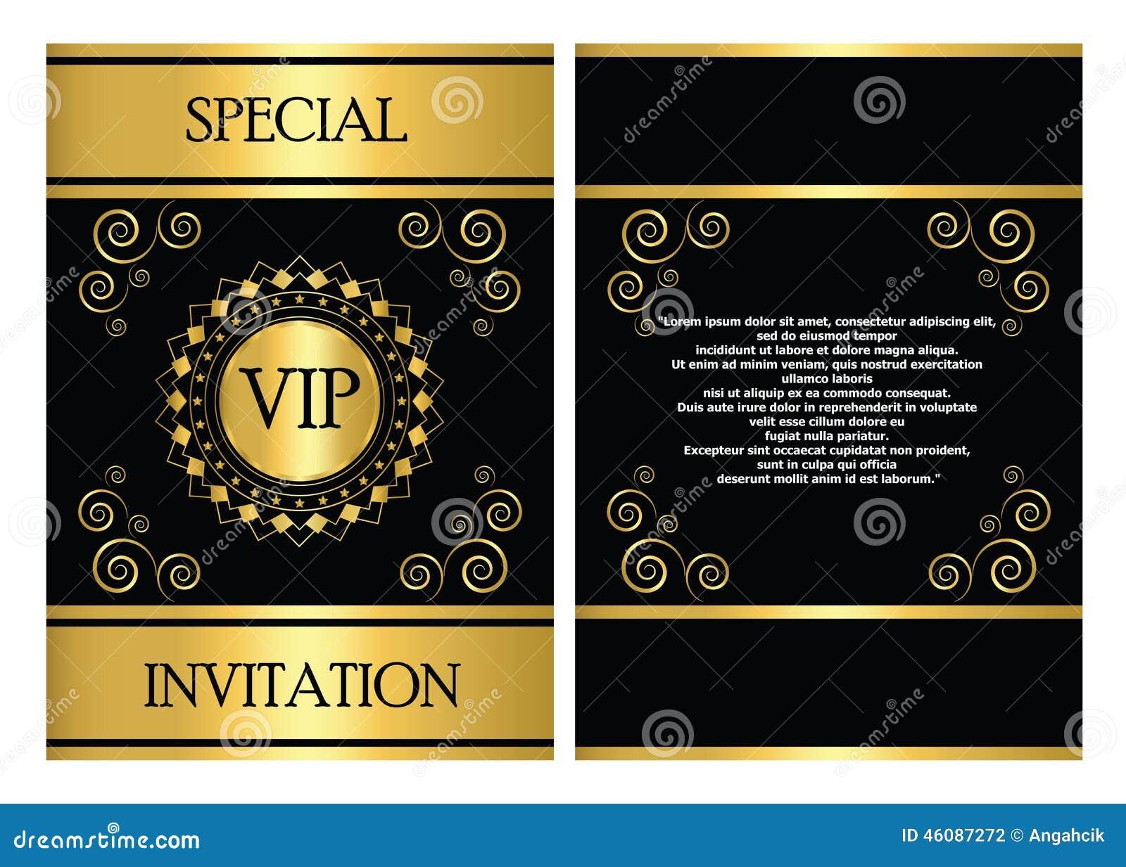 vip zaproszenia karty szablon ilustracja wektor