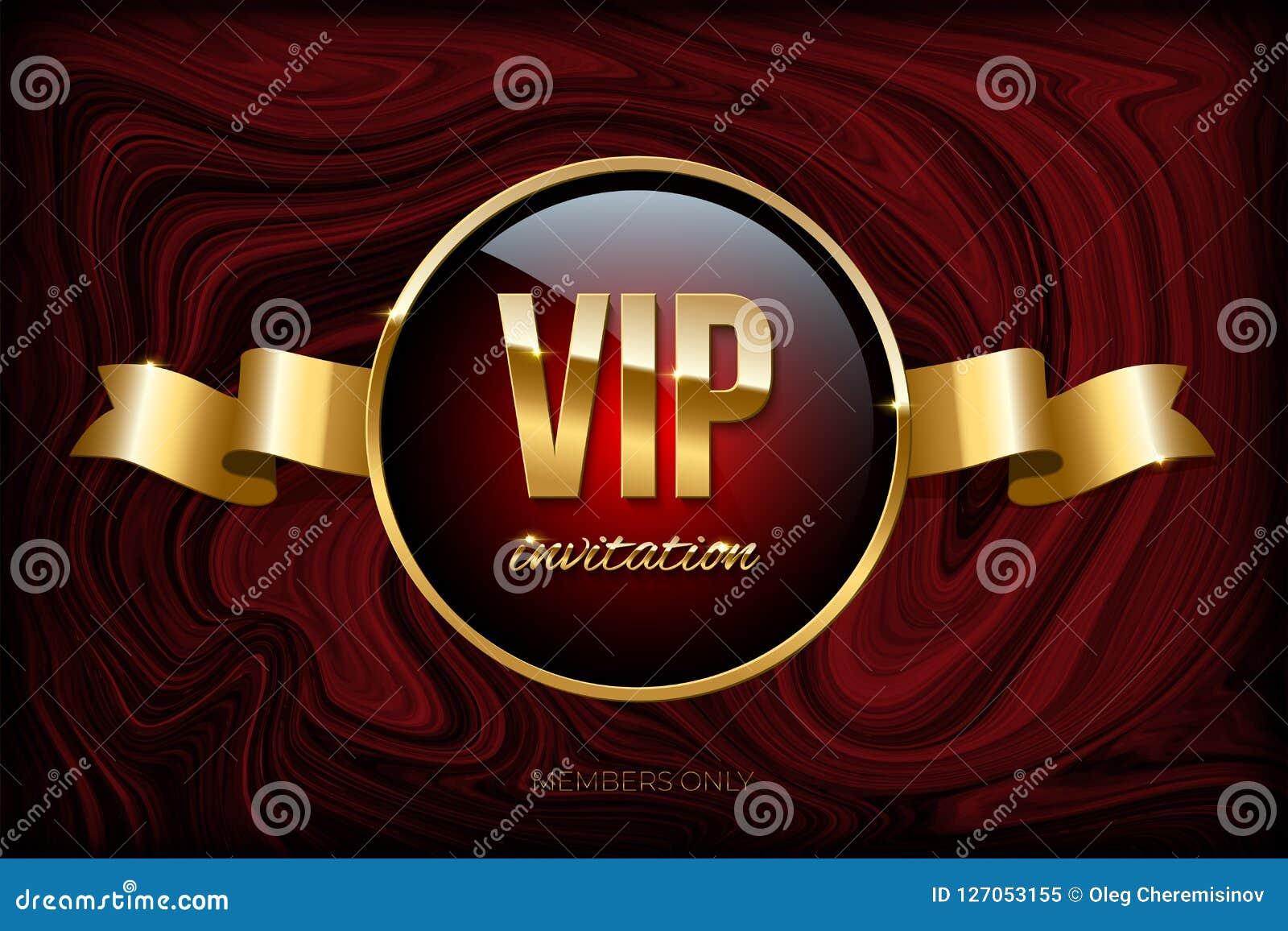 VIP zaproszenia projekta szablon Wektorowy złoty faborek i VIP zaproszenie tekst na zmroku - czerwieni marmurowa tekstura
