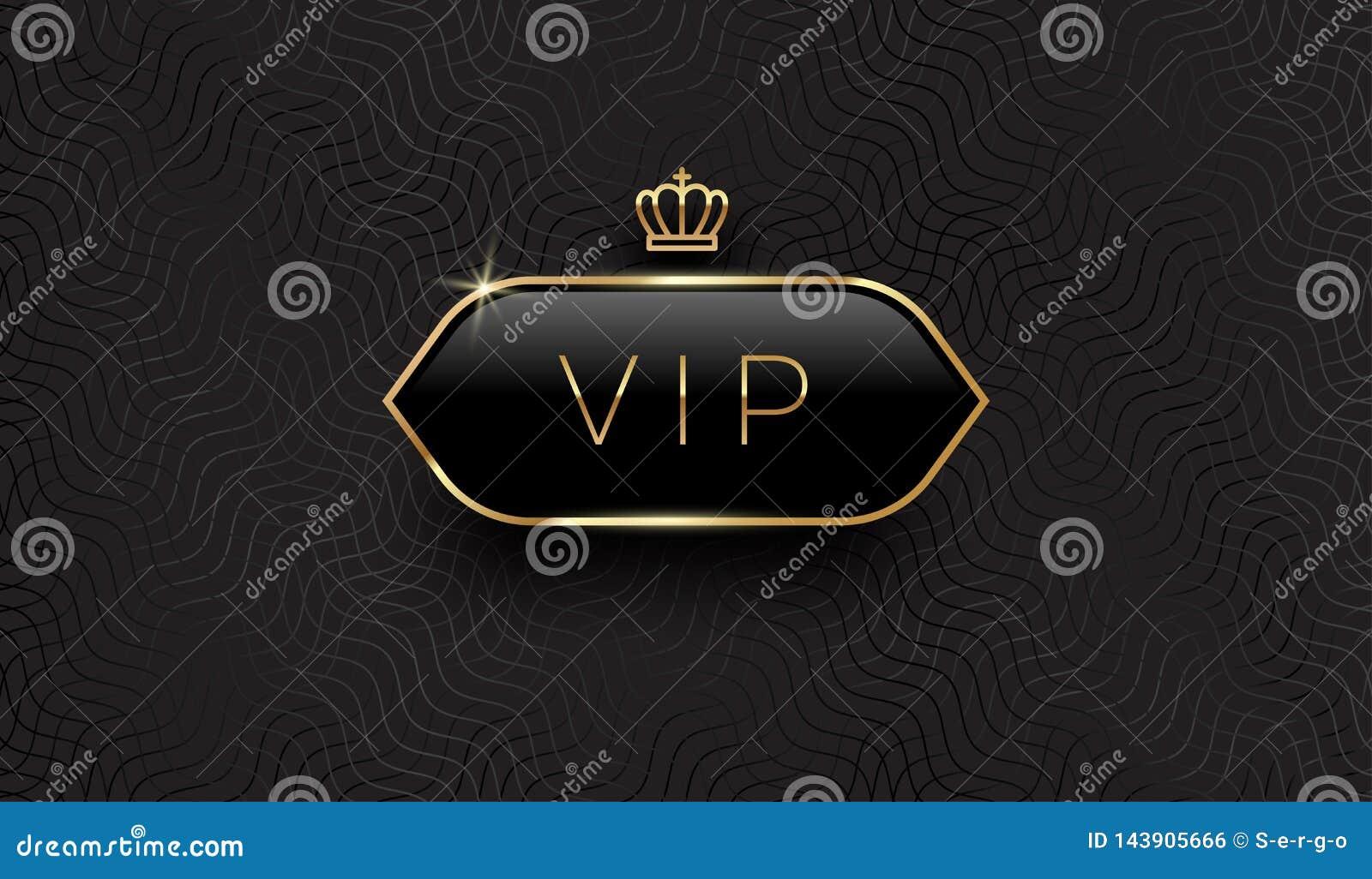 Vip zwart glasetiket met gouden kroon en kader op een zwarte patroonachtergrond Vectorillustratie, en editable Het Ontwerp van he
