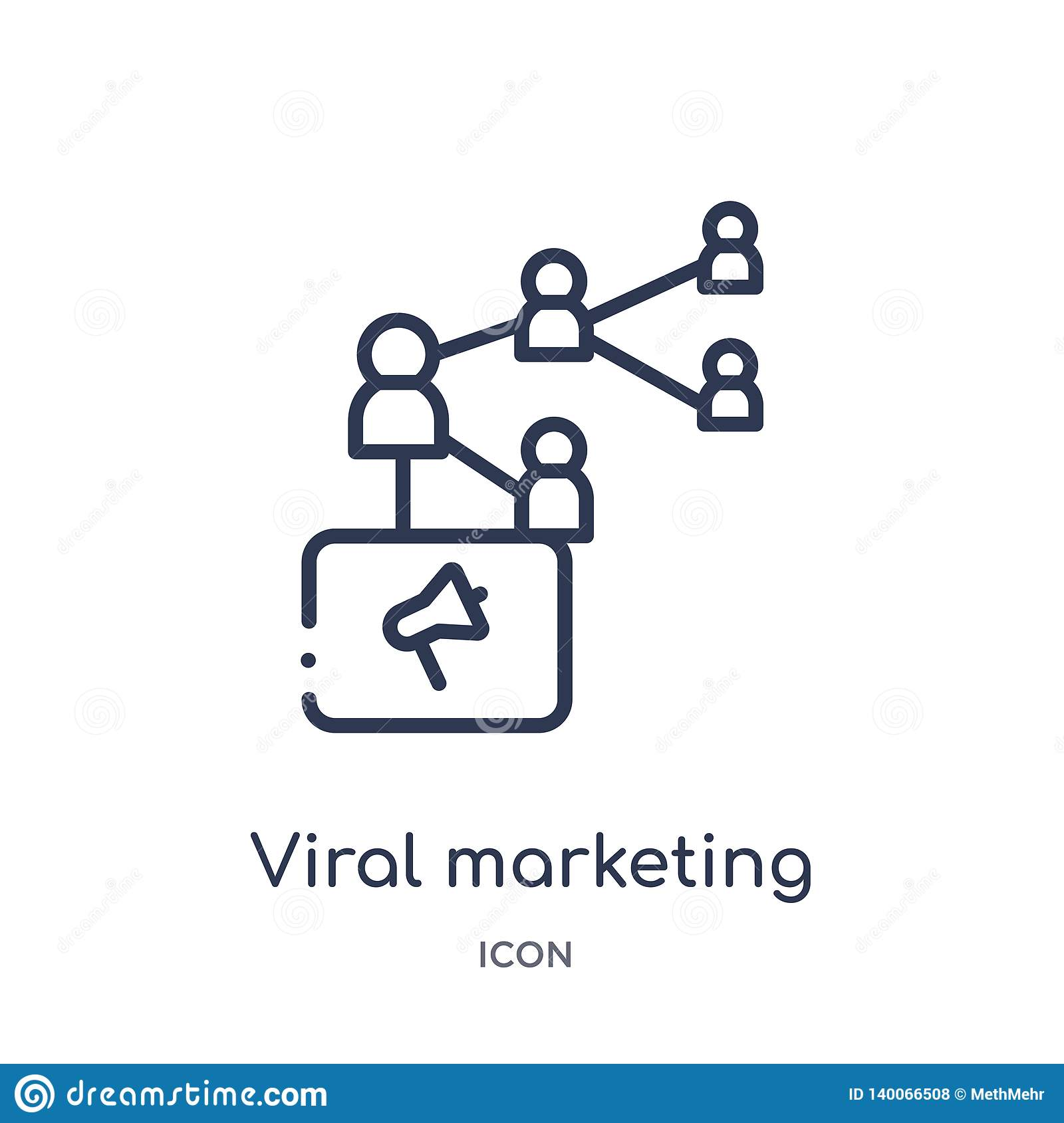 viral marketing icon from search engine optimization outline collection. Thin line viral marketing icon isolated on white