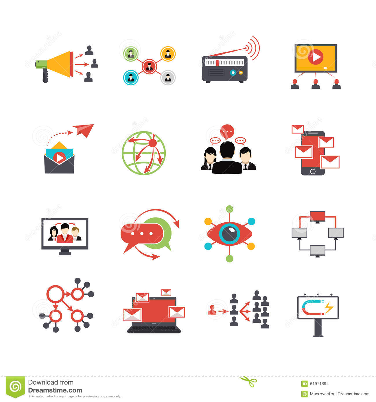 Viral Times Web: Viral Marketing Technique Flat Icons Set Stock Vector