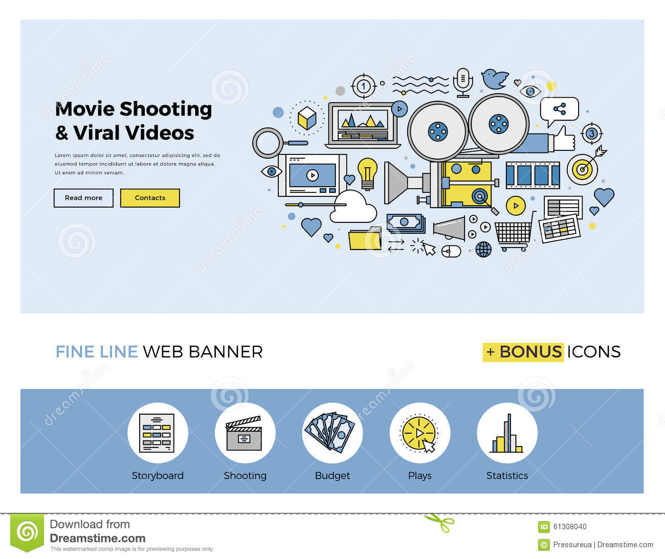 Viral Times Web: Viral Movie Shooting Flat Line Banner Stock Vector
