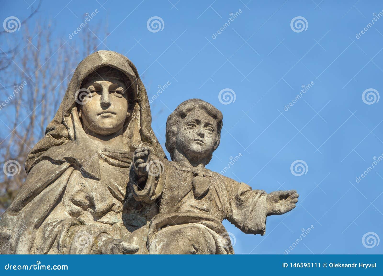Virgem Maria com o bebê Jesus Christ em seus braços