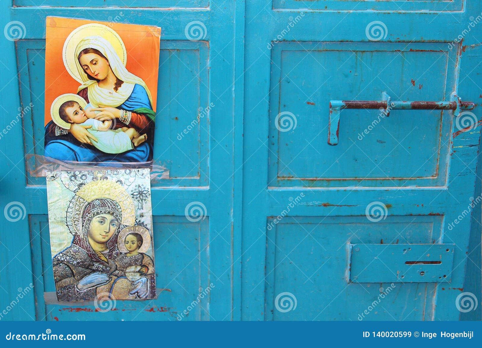 Virgin azul Mary Jesus dos cartazes das portas, Bethlehem