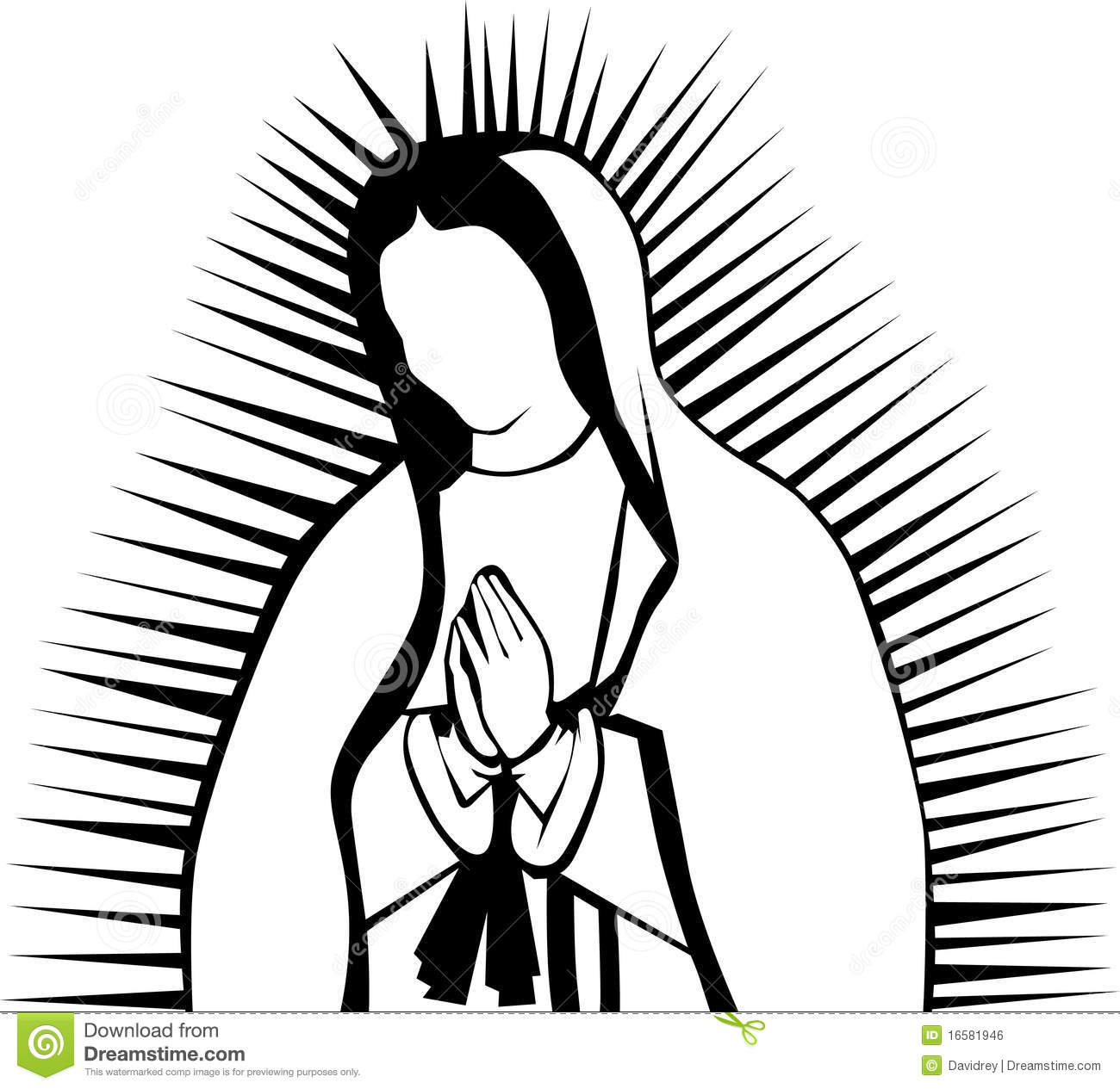 Black and white clipart illustration of a praying virgin of guadalupe.
