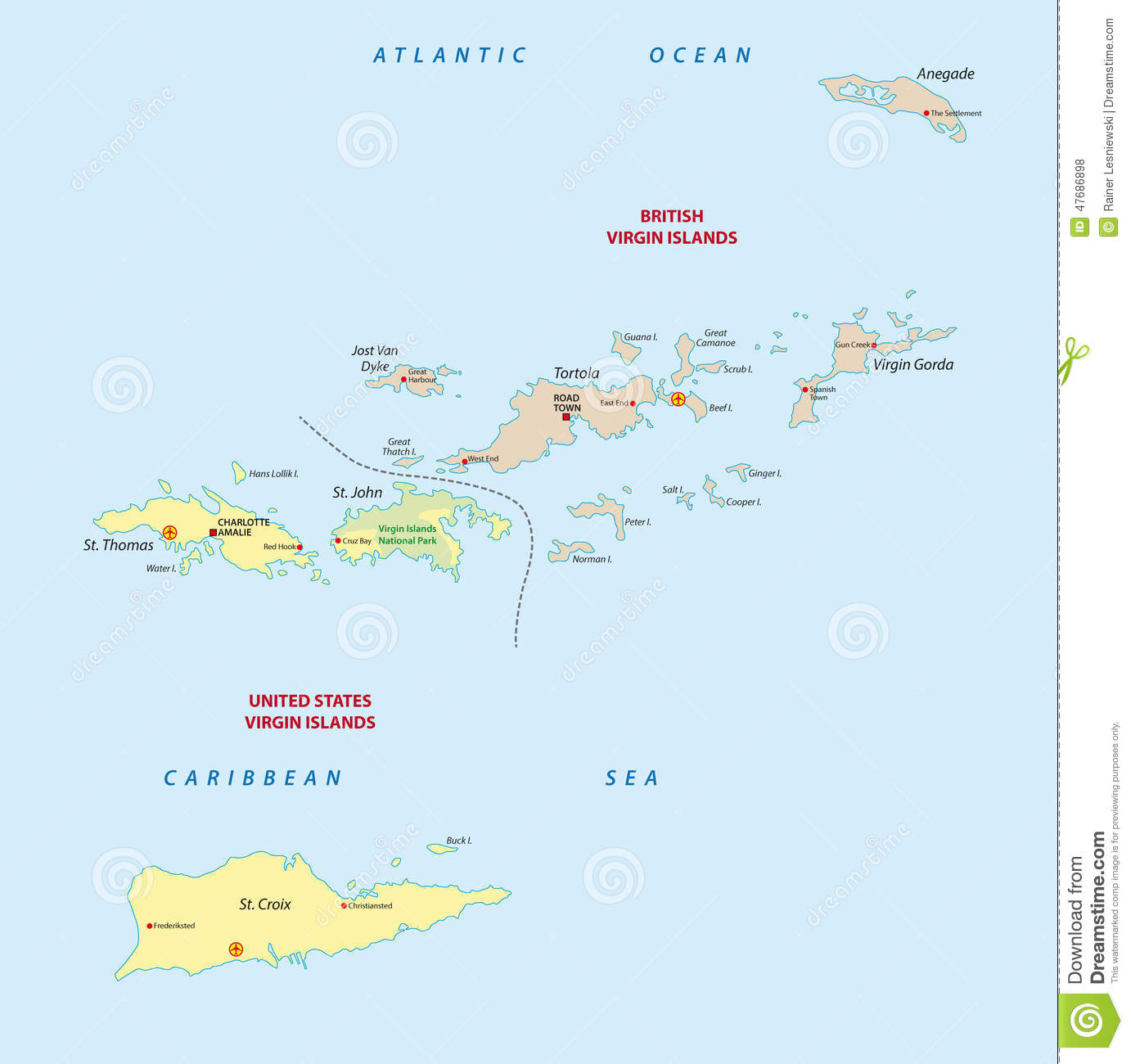 Virgin Islands Map Stock Illustration Image - Us and british virgin islands map