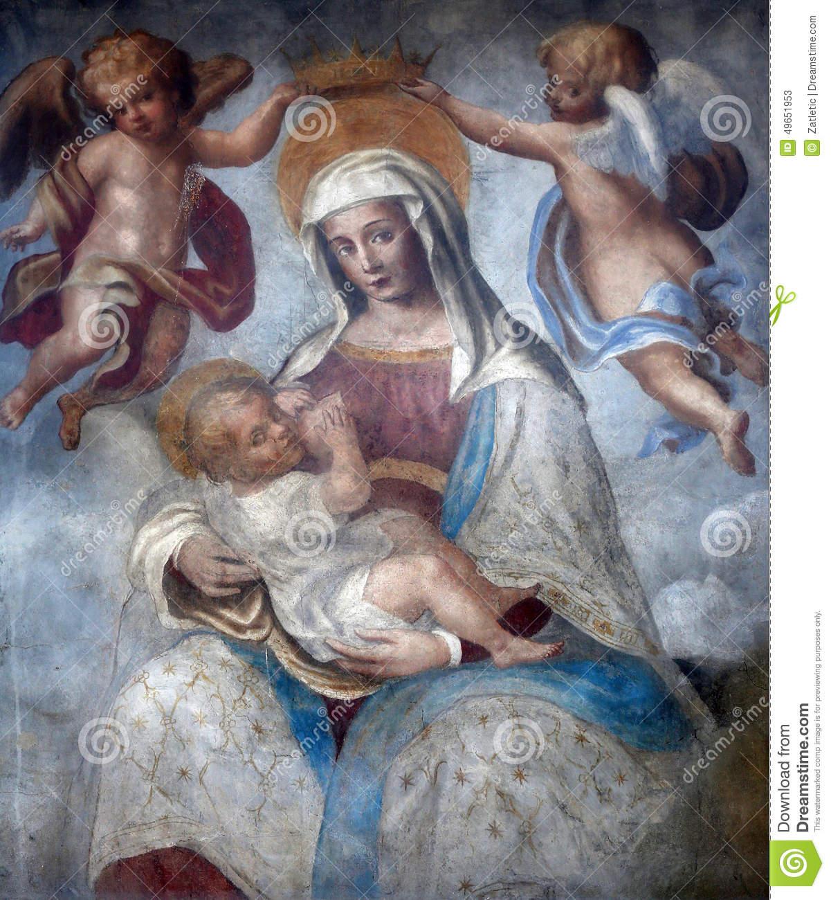 Blessed virgin mary with baby jesus street wall painting parma