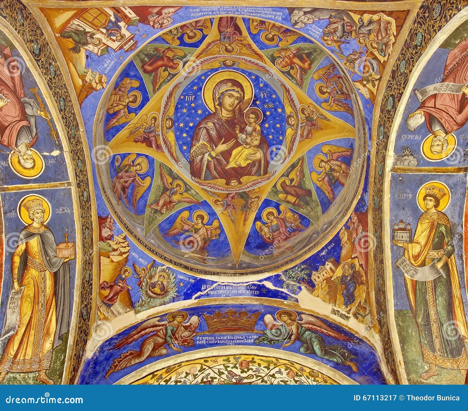 Orthodox church. Virgin Mary and Child - Hurezi or Horezu Monastery, landmark attraction in Romania