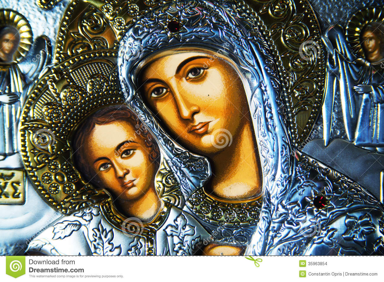 Closeup of an ornate religious icon of Virgin Mary and baby Jesus.