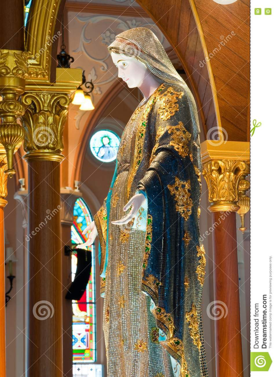 Virgin Mary Statue In The Church Royalty Free Stock Photo ...