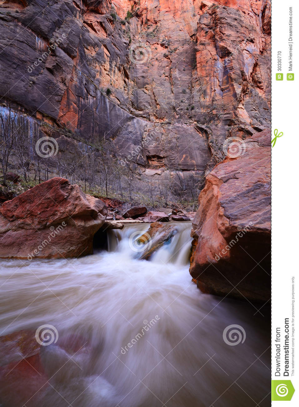 Cascade on the virgin river by narrows canyon in zion national park