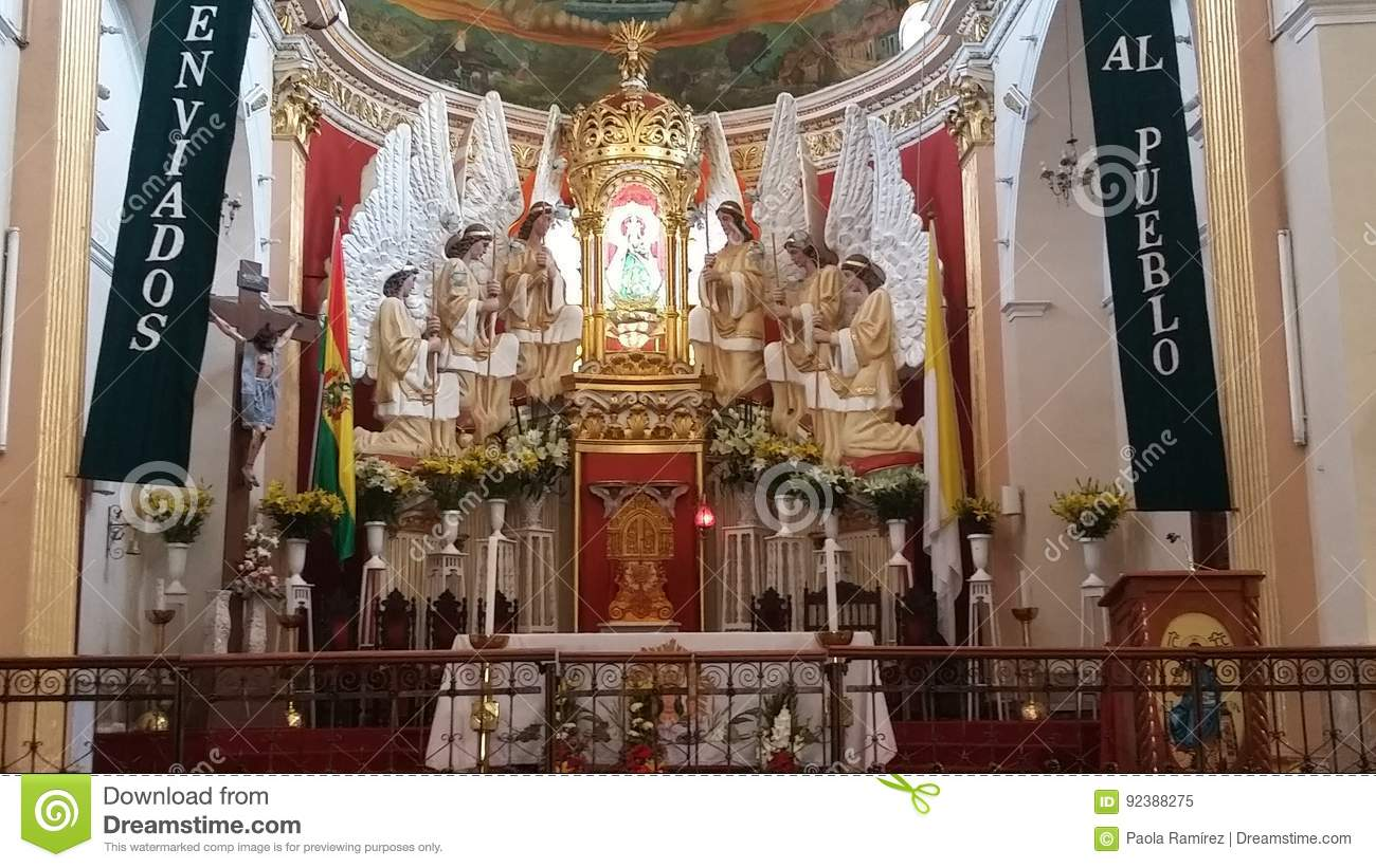 Virgin Of Urkupina In The Village Of Quillacollo Stock Image Image Of Lago Hermoso 92388275