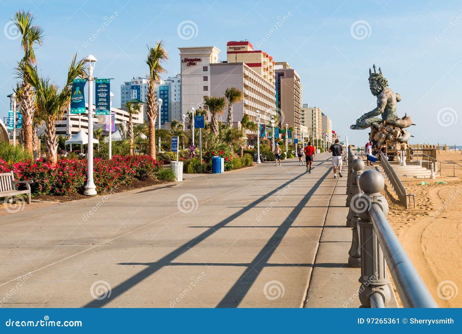 Virginia Beach Resort And Oceanfront Boardwalk Editorial Photo