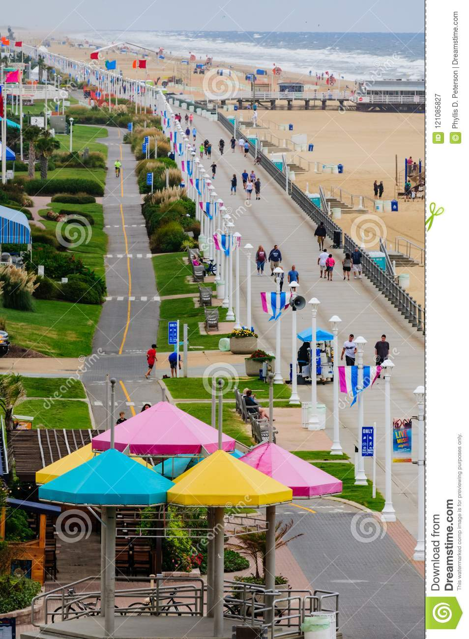 Tourists Gather On Boardwalk In Early Morning At Virginia
