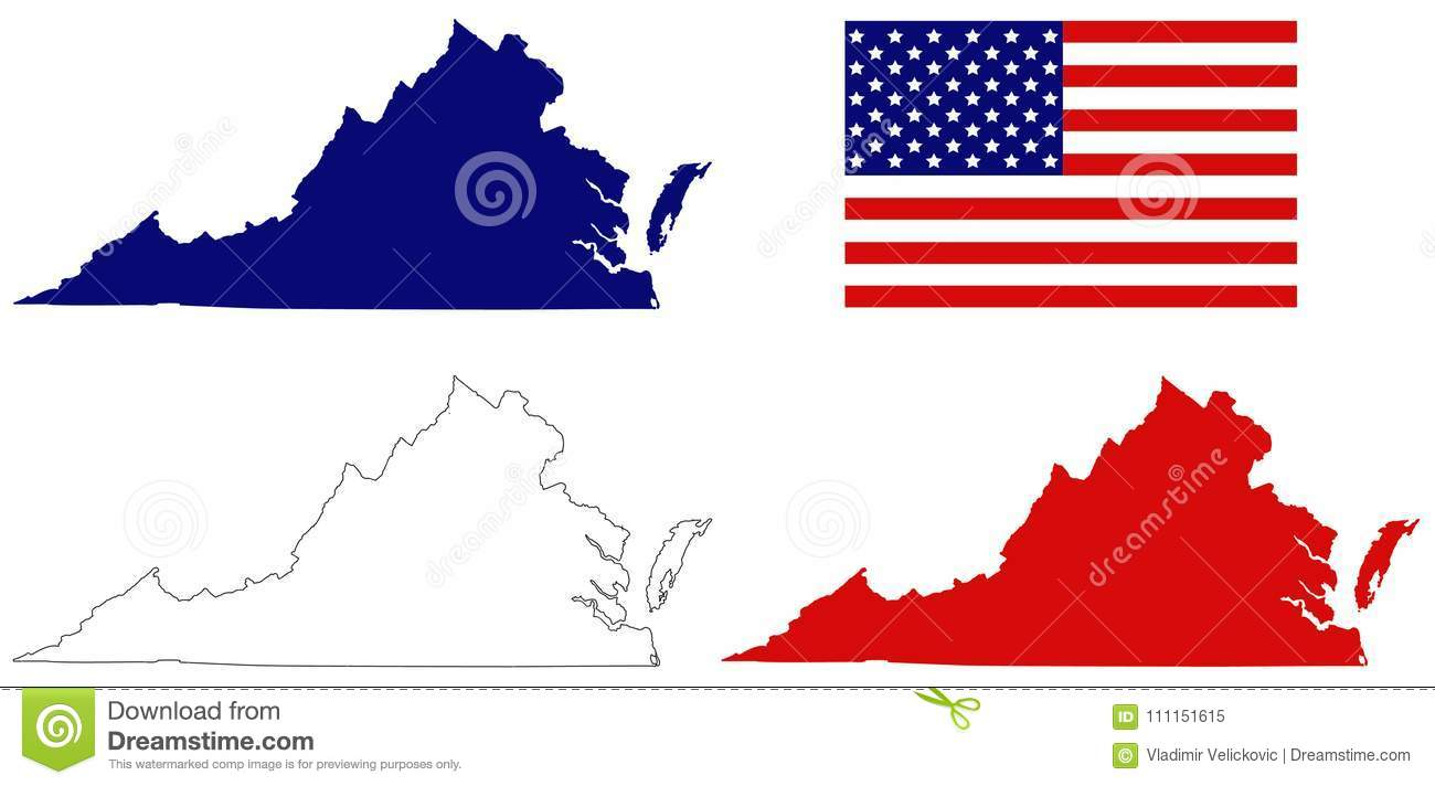 Virginia Map With Usa Flag State In The Southeastern And Mid