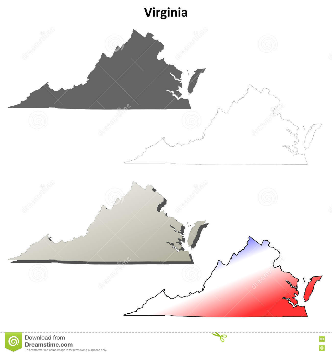 Outline Map Of Virginia.Virginia Outline Map Set Stock Vector Illustration Of America