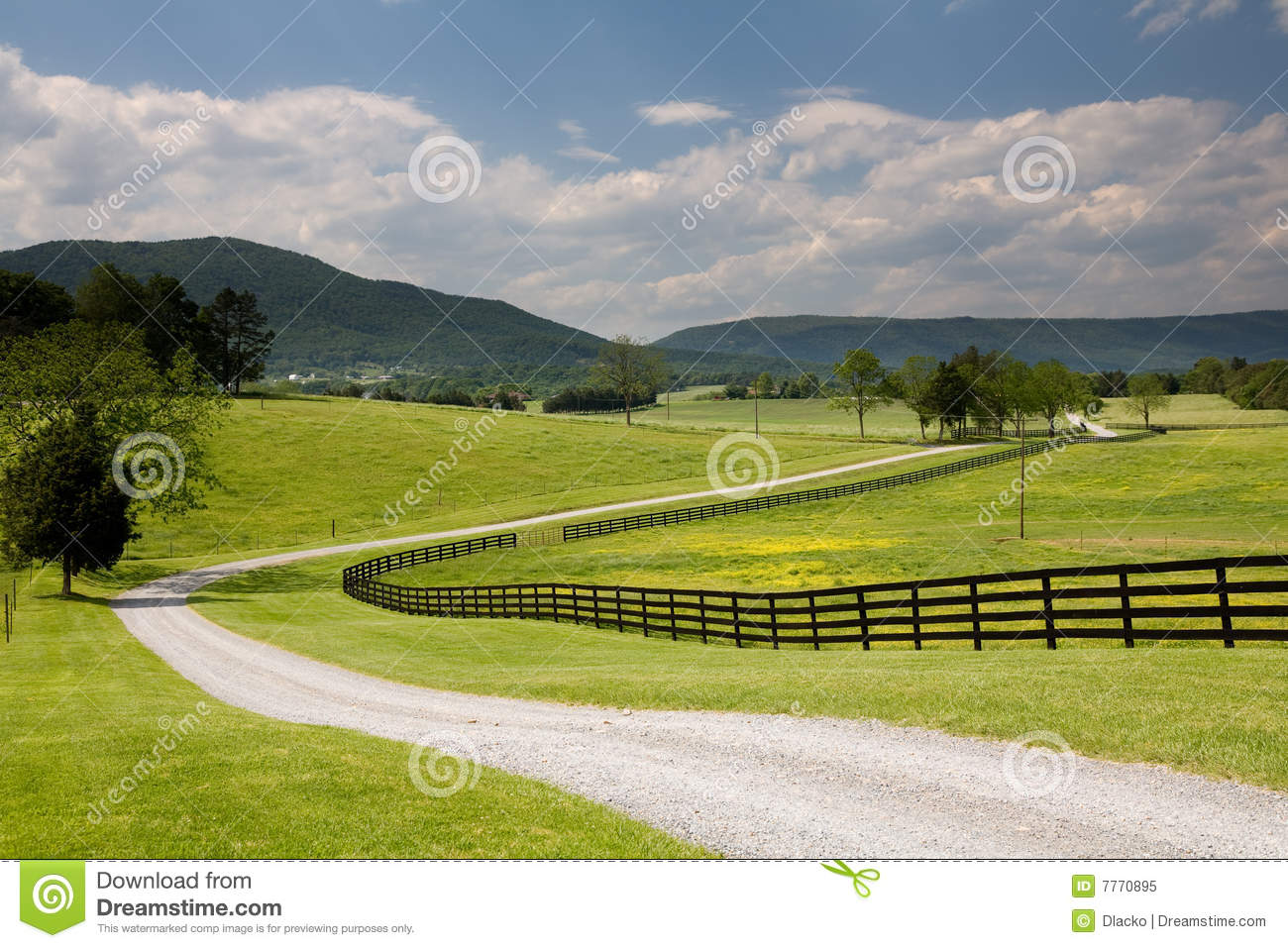 Virginia ranch road and fence royalty free stock photo