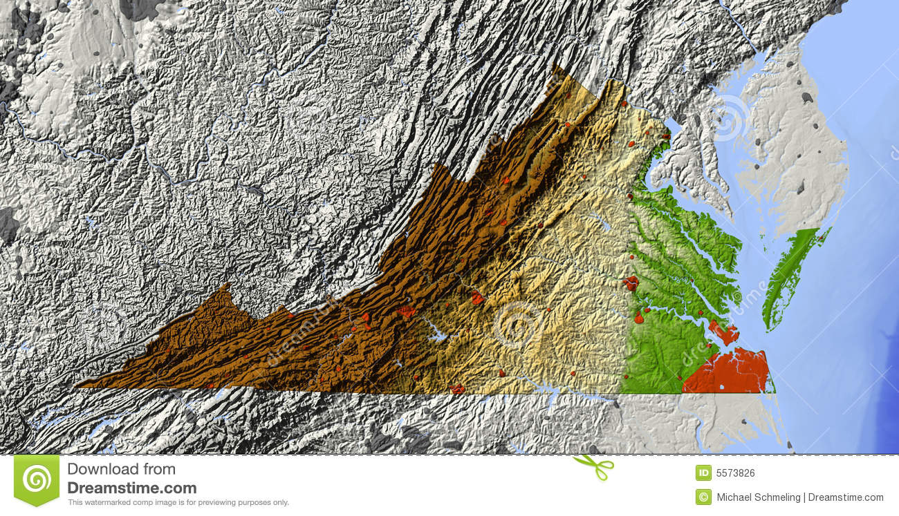 Relief Map Of Virginia.Virginia Relief Map Stock Illustrations 7 Virginia Relief Map
