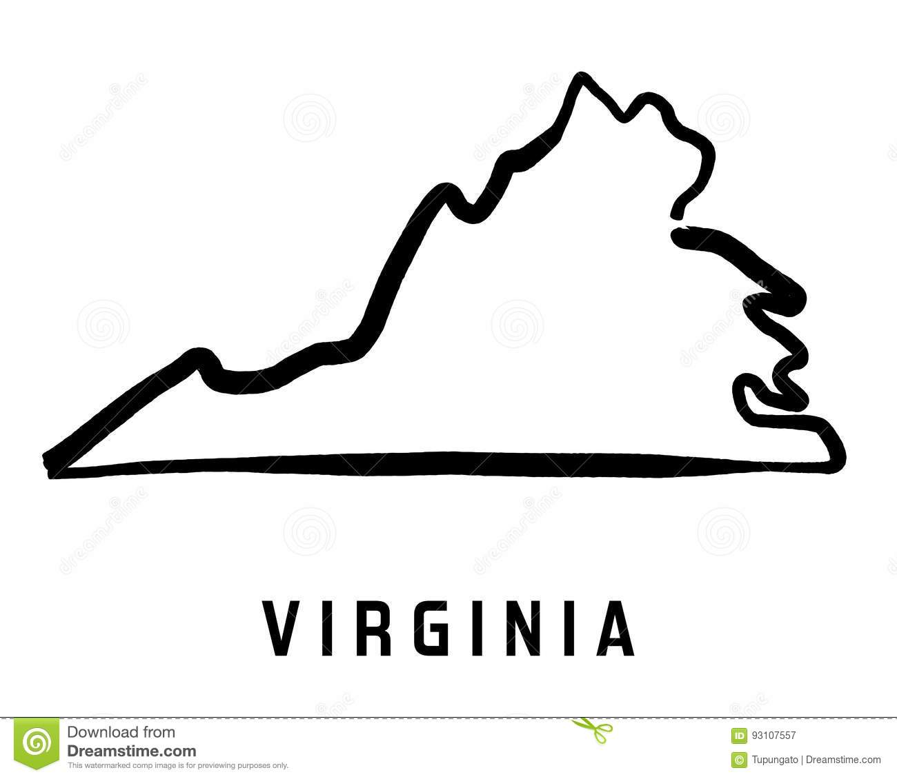 Virginia Stock Vector Image - Simple us map outline