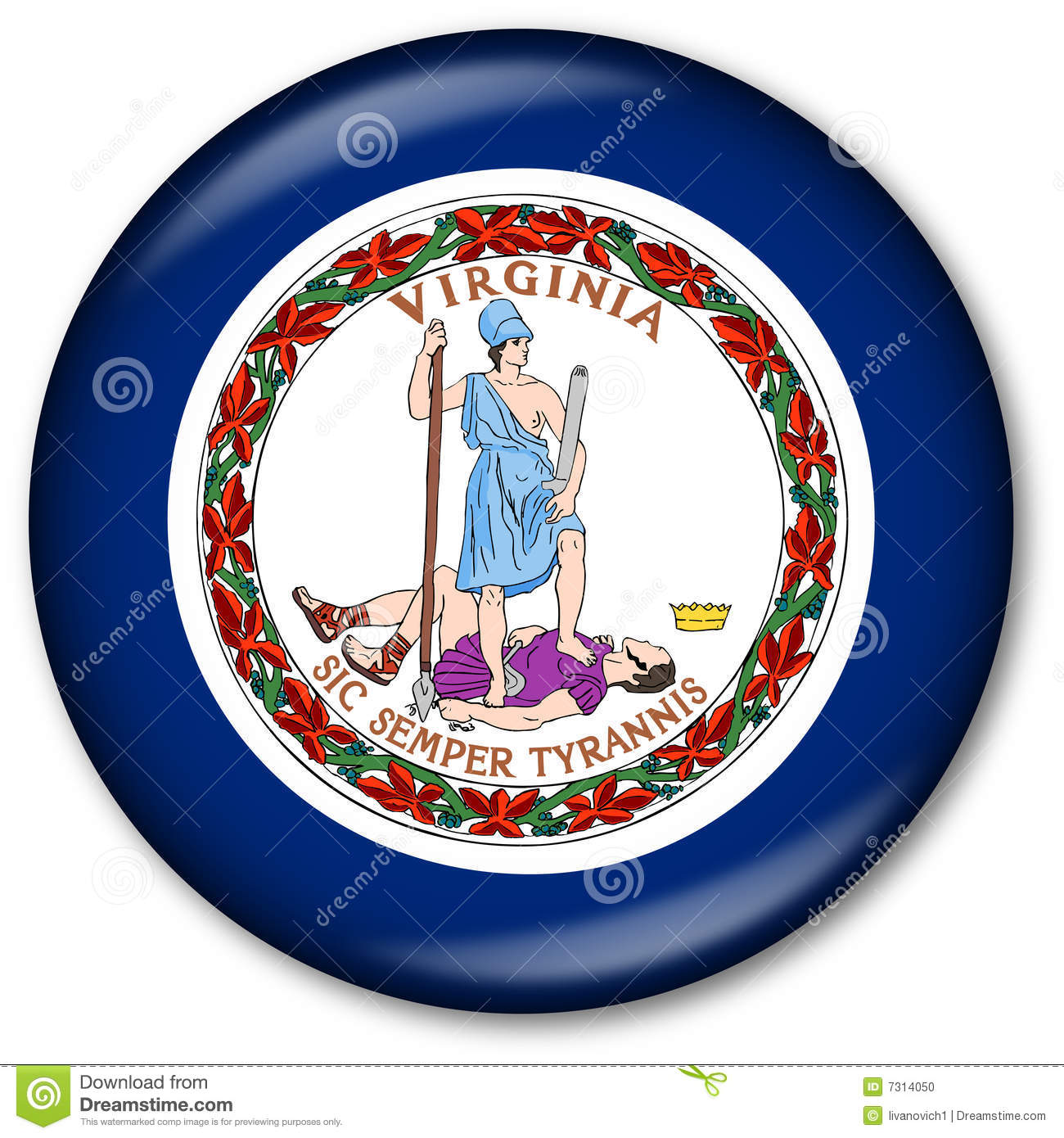 Virginia State Flag Button Stock Illustration Illustration Of Great