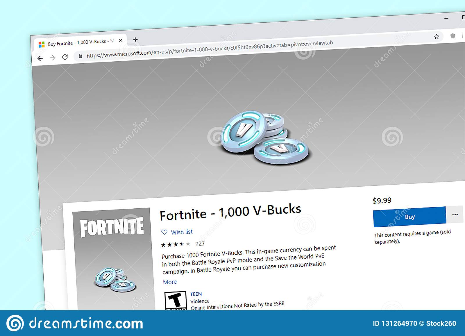 Fortnite Purchase Page For 1 000 V Bucks Editorial Image