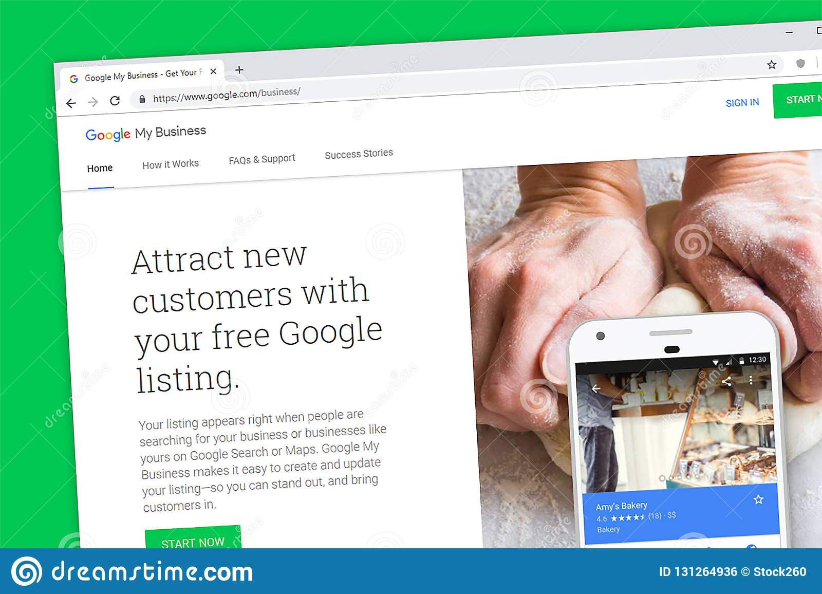 google my business website homepage editorial photo image of