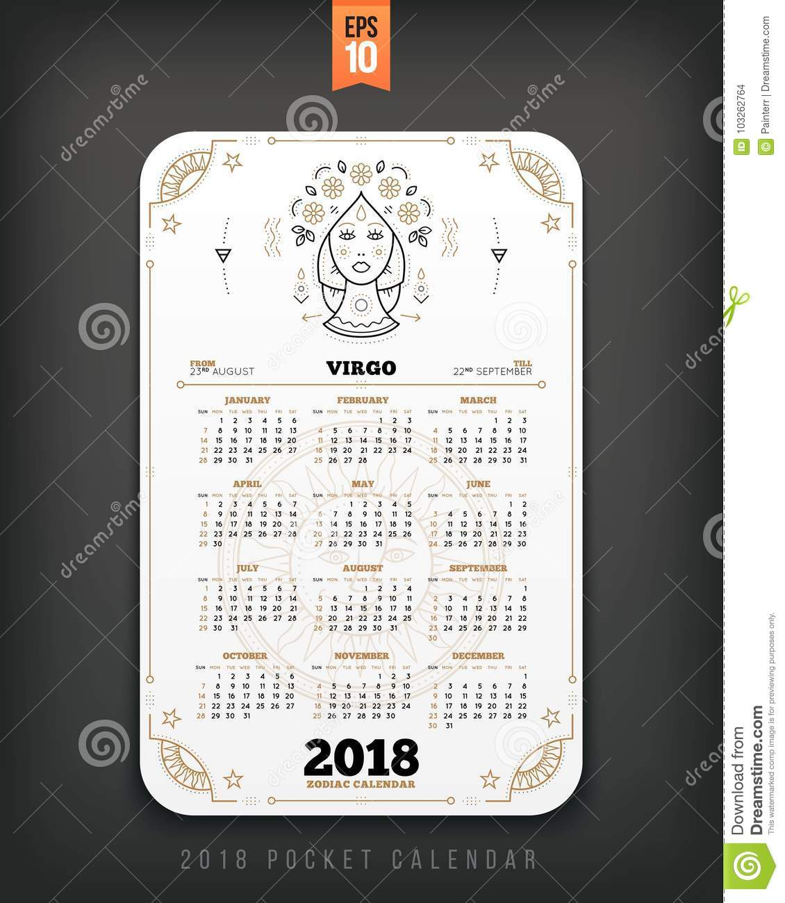 virgo 2018 year zodiac calendar pocket size vertical layout
