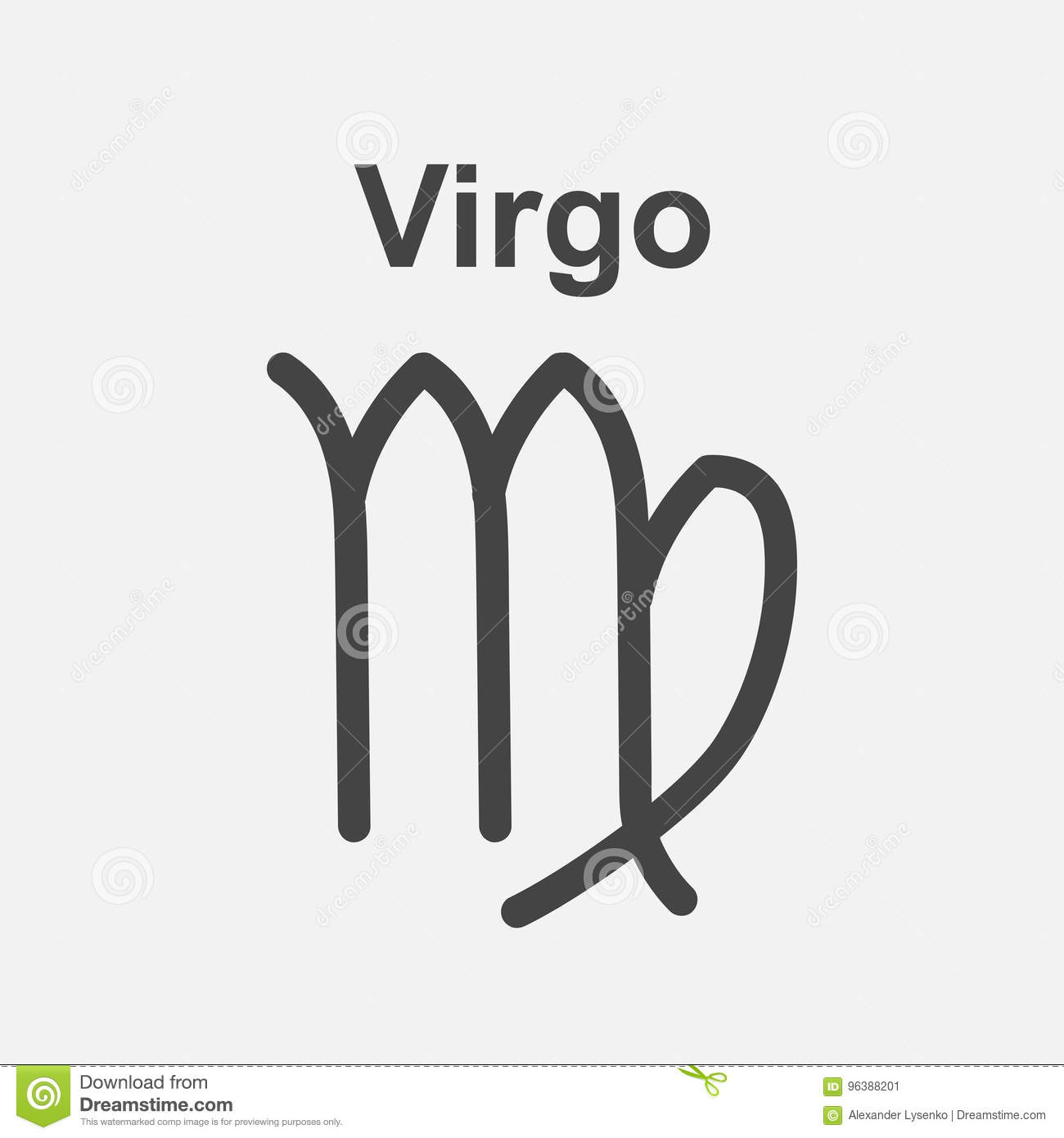 Virgo Zodiac Sign Flat Astrology Vector Illustration On White B