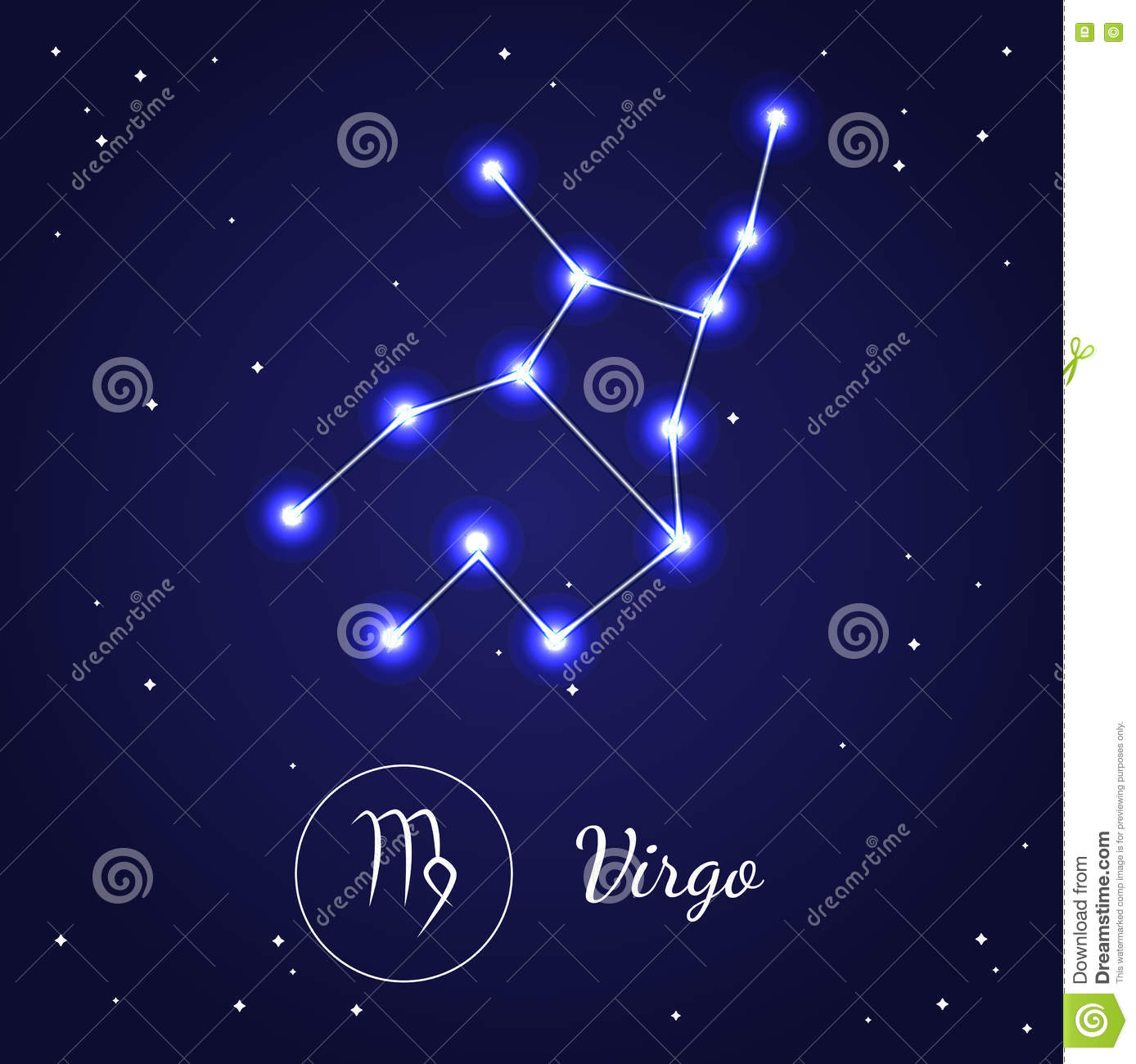 Virgo Zodiac Sign Stars On The Cosmic Sky Vector Stock Vector