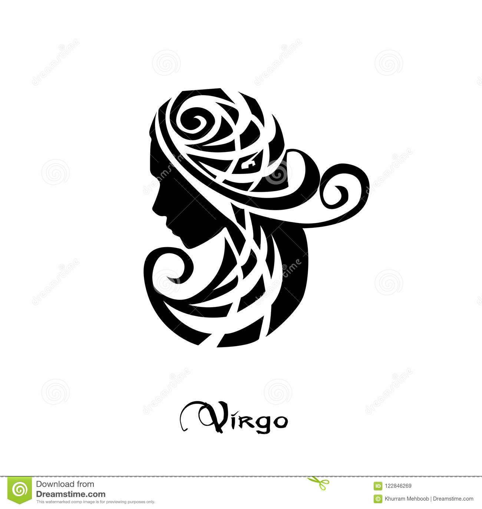 faea0a5d9159e Virgo Zodiac Sign Tattoo Style Stock Vector - Illustration of aries ...