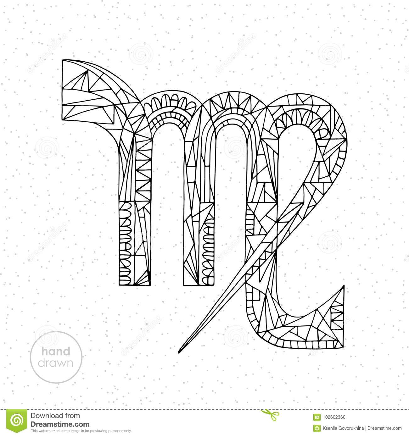 Virgo Zodiac Sign Vector Hand Drawn Horoscope Illustration Astrological Coloring Page Stock Vector Illustration Of Decoration Decorative 102602360