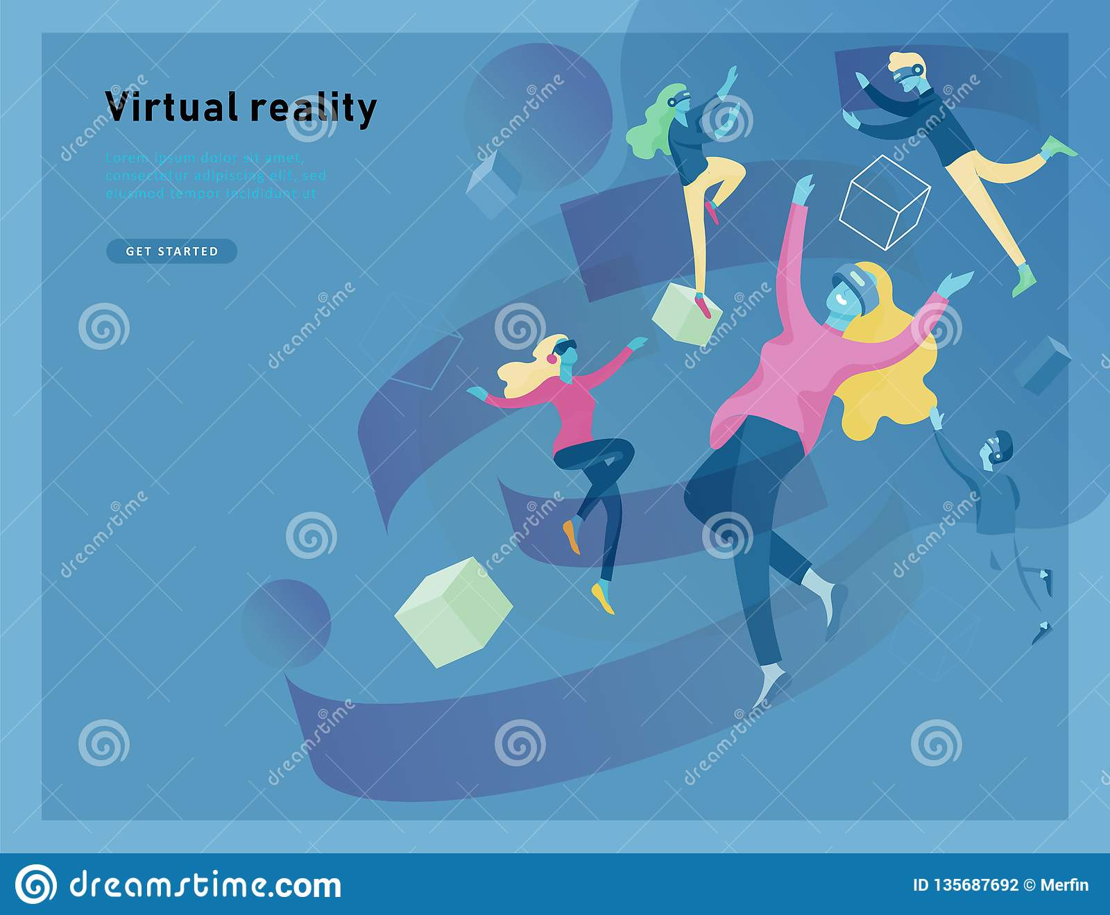 Virtual Augmented Reality Glasses Concept With People Learning And Entertaining. Landing Page ...