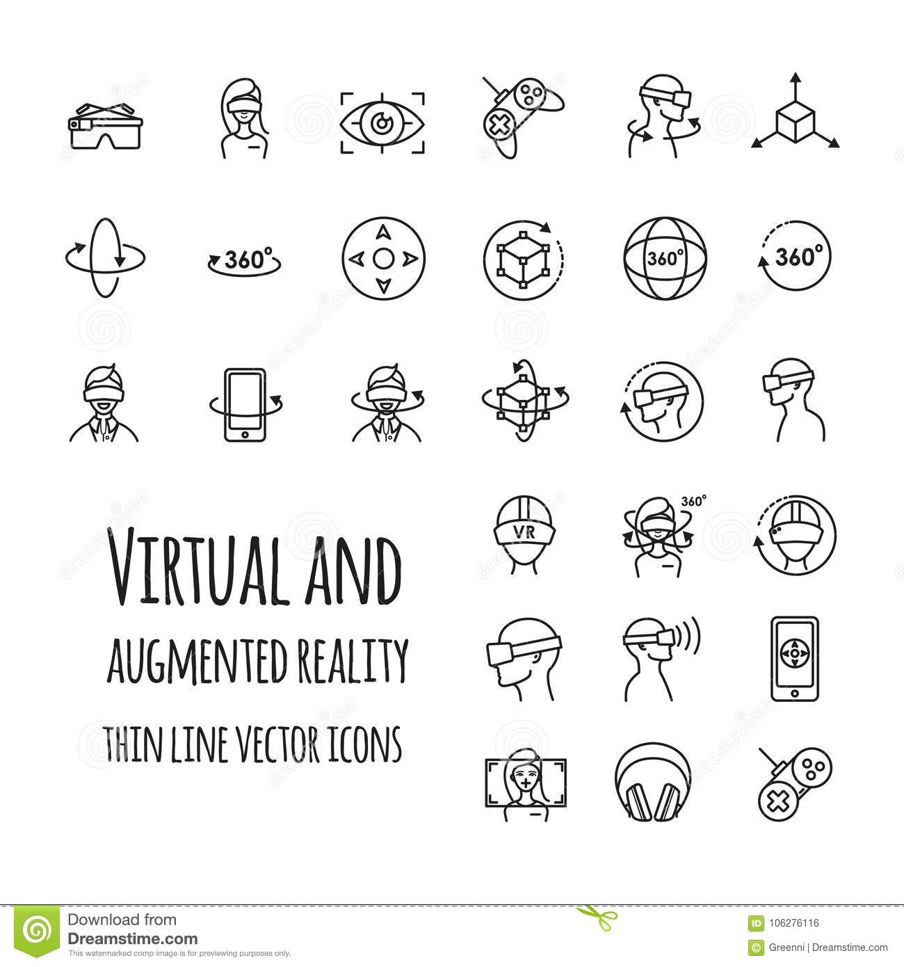 Virtual And Augmented Reality Vector Icons Set Stock Vector
