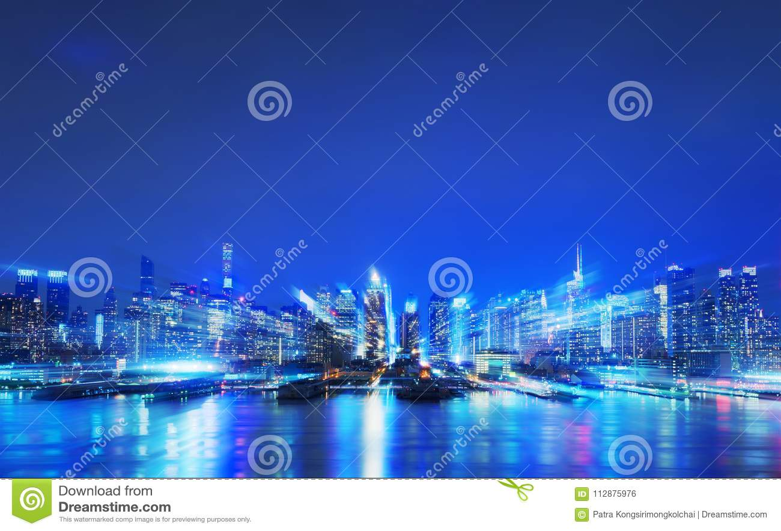 Virtual city, Abstract digital New York skyscrapers