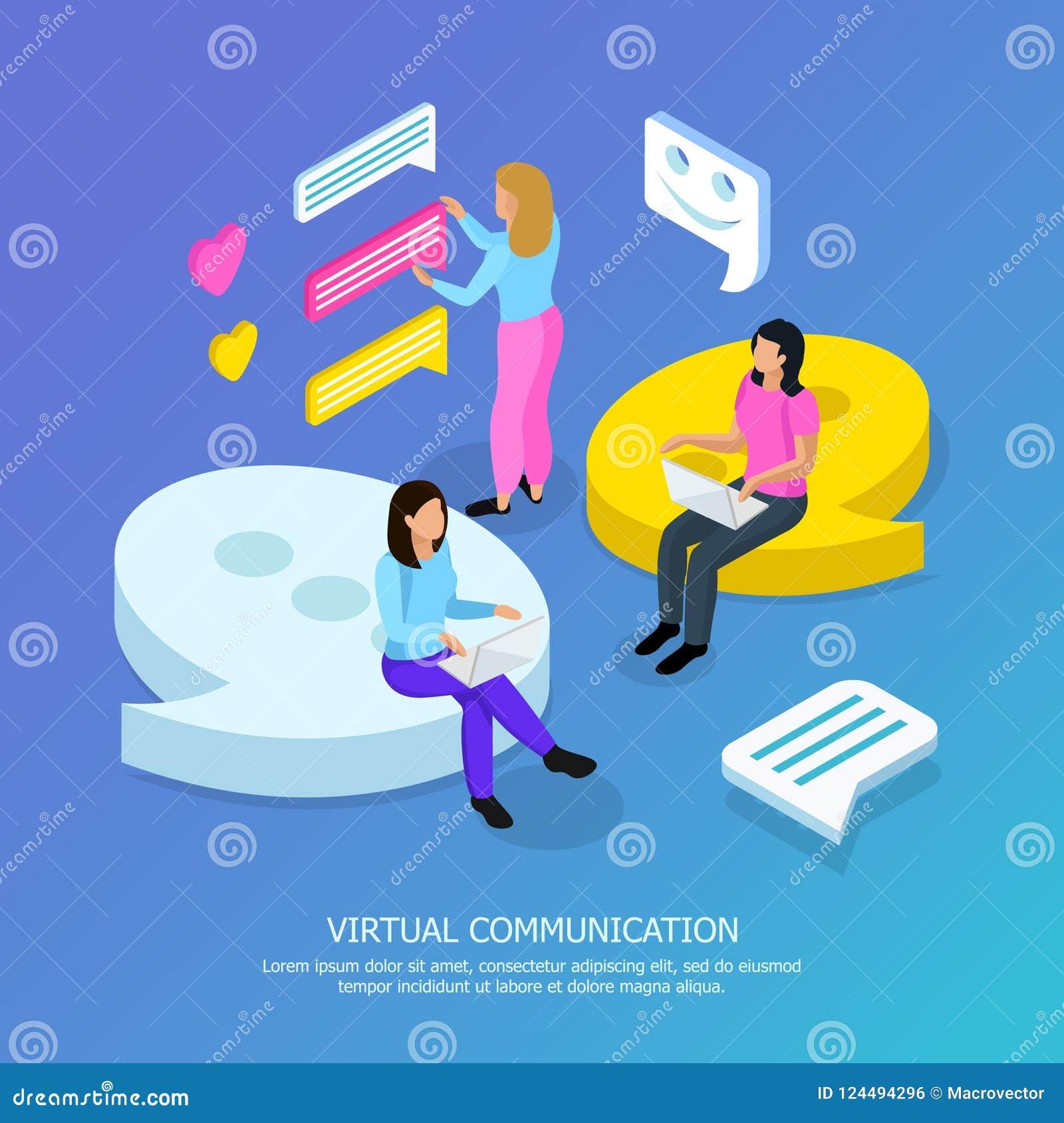 Virtual Communication Isometric Background